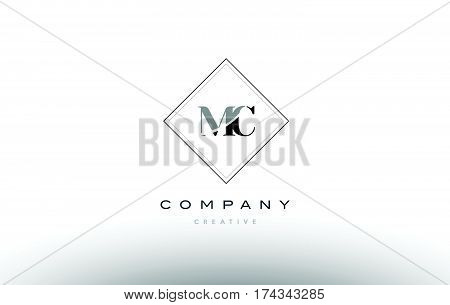 Mc M C  Retro Vintage Black White Alphabet Letter Logo