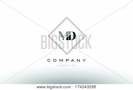 Md M D  Retro Vintage Black White Alphabet Letter Logo
