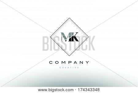 Mk M K  Retro Vintage Black White Alphabet Letter Logo
