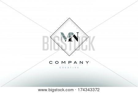 Mn M N  Retro Vintage Black White Alphabet Letter Logo