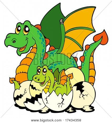 Dragon mom with baby and eggs - vector illustration.