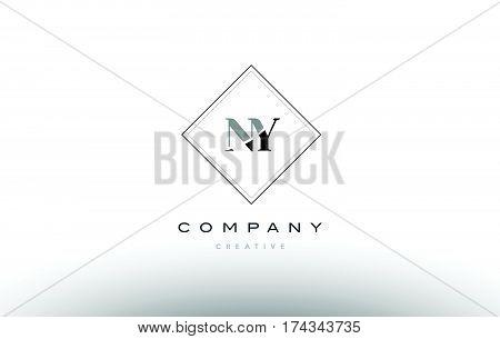 Ny N Y  Retro Vintage Black White Alphabet Letter Logo