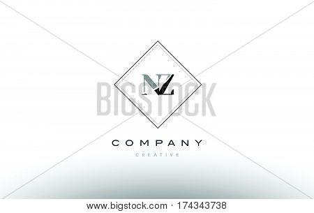 Nz N Z  Retro Vintage Black White Alphabet Letter Logo