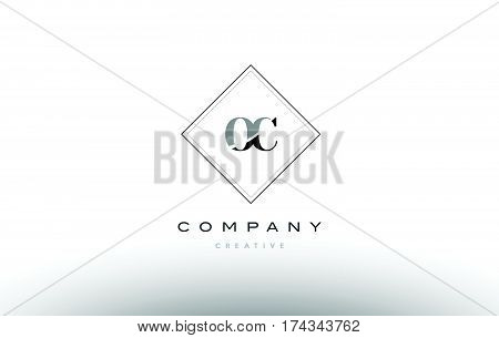 Oc O C  Retro Vintage Black White Alphabet Letter Logo
