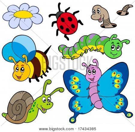 Garden animals collection - vector illustration.