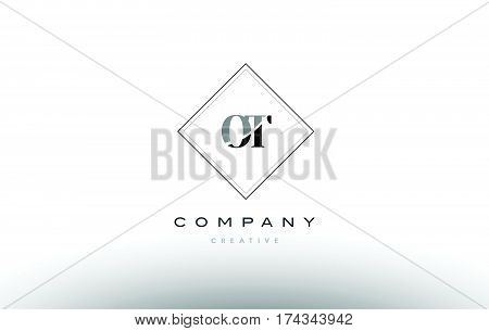 Ot O T  Retro Vintage Black White Alphabet Letter Logo