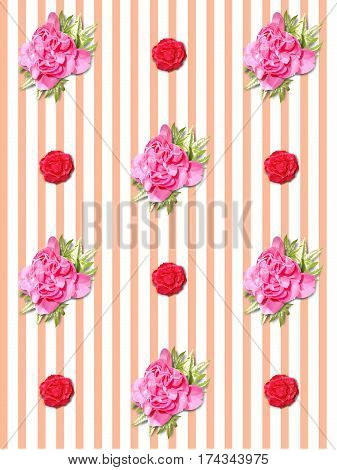 Illustration of seamless background of roses and ivy on stripes