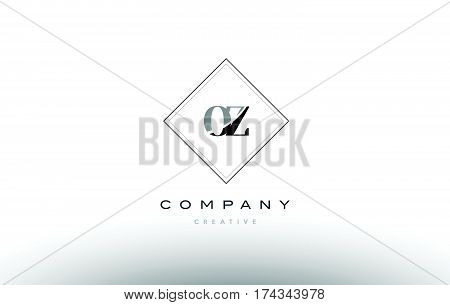 Oz O Z  Retro Vintage Black White Alphabet Letter Logo
