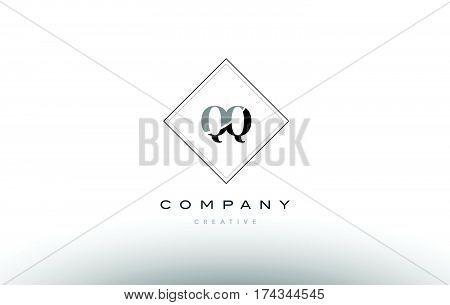 Qq Q Q  Retro Vintage Black White Alphabet Letter Logo