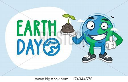 Earth Day Earth Character Holding Handful of Earth. Vector Illustration. Mascot Character.