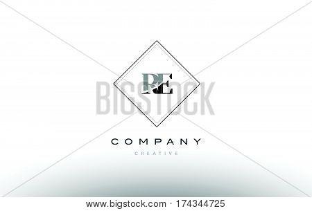 Re R E  Retro Vintage Black White Alphabet Letter Logo