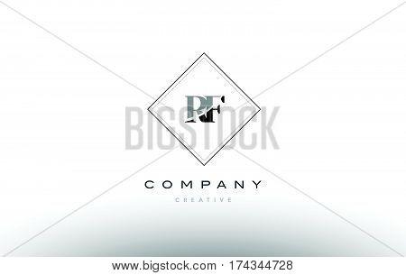 Rf R F  Retro Vintage Black White Alphabet Letter Logo