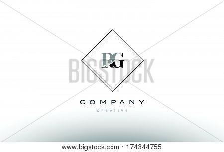 Rg R G  Retro Vintage Black White Alphabet Letter Logo