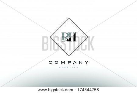 Rh R H  Retro Vintage Black White Alphabet Letter Logo