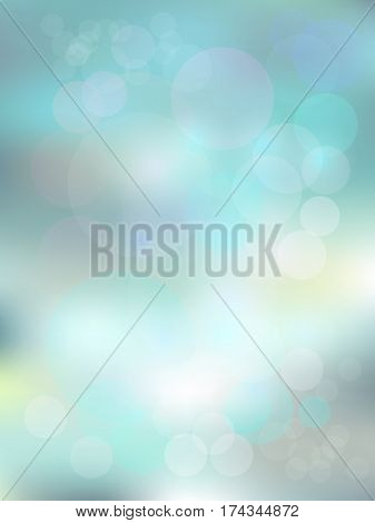Blurred background in light mint and silver color with bokeh. Mild morning sunshine effect. Fine template for motivational text and lettering.