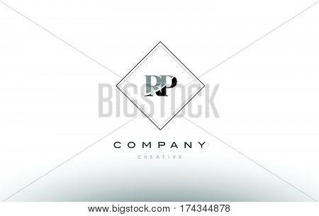 Rp R P  Retro Vintage Black White Alphabet Letter Logo