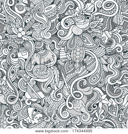 Cartoon cute doodles hand drawn Indian culture seamless pattern. Sketchy detailed, with lots of objects background. Endless funny vector illustration. Line art backdrop