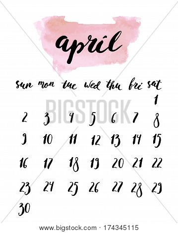April 2017 calendar with ink calligraphy elements And watercolor light pink background. Week starts Sunday.