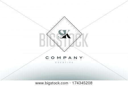 Sk S K  Retro Vintage Black White Alphabet Letter Logo