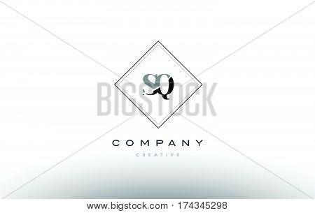 Sq S Q  Retro Vintage Black White Alphabet Letter Logo