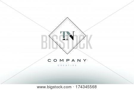 Tn T N  Retro Vintage Black White Alphabet Letter Logo