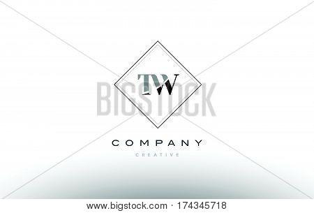 Tw T W  Retro Vintage Black White Alphabet Letter Logo