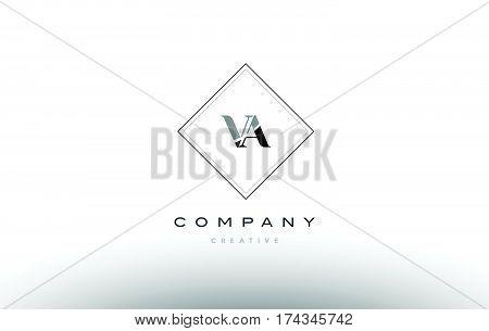 Va V A  Retro Vintage Black White Alphabet Letter Logo