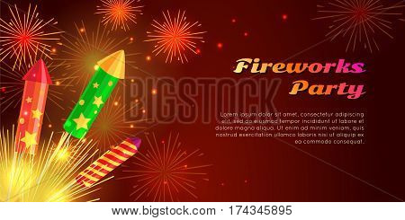 Fireworks party web banner vector illustration. Organization of fireworks festivals with different kinds of amazing fireworks pyrotechnic devices as flower pot, firecracker in celebration concept.