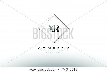 Xr X R  Retro Vintage Black White Alphabet Letter Logo