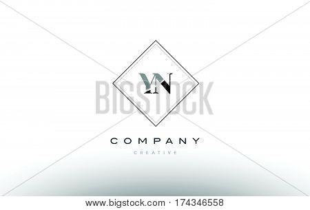 Yn Y N  Retro Vintage Black White Alphabet Letter Logo