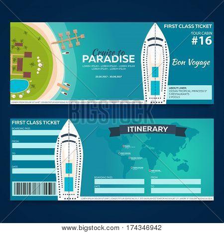 Travel. Cruise To Paradise. Ticket. Cruise Liner. Ship. Vector Flat Illustration.