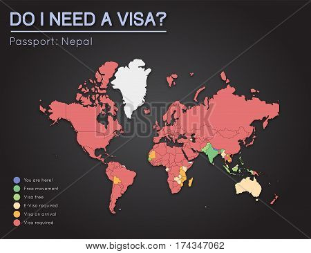 Visas Information For Federal Democratic Republic Of Nepal Passport Holders. Year 2017. World Map In