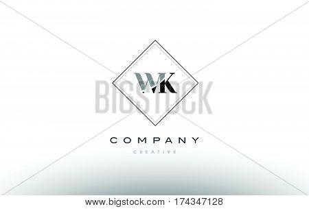 Wk W K  Retro Vintage Black White Alphabet Letter Logo