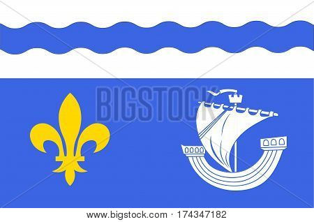 Flag of Hauts-de-Seine is a French department named after the Seine and Marne rivers and located in the Ile-de-France region. Vector illustration