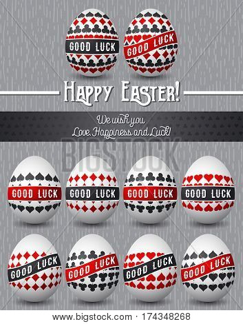 Easter greetings card with red and black symbols over many white eggs vector illustration. Decorative composition suitable for invitations greeting cards flyers banners.