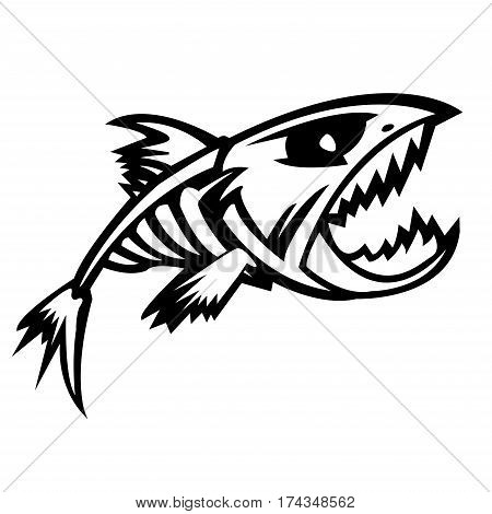 fish, skeleton, scary, vector, bone, animal, cartoon