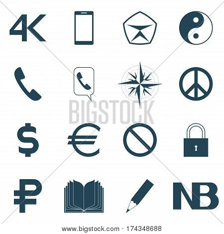 icons set vector illustration. mobile communication contact currency peace signs prohibition quality attention Yin-Yang the book and the pencil of a compass rose 4K. dark outline on a white background.