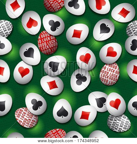Seamless gambling green background with red and black symbols over easter eggs vector illustration. Ideal for printing onto fabric and paper or scrap booking.