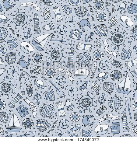 Cartoon cute hand drawn nautical, marine seamless pattern. Monochrome vintage detailed, with lots of objects background. Endless funny vector illustration.