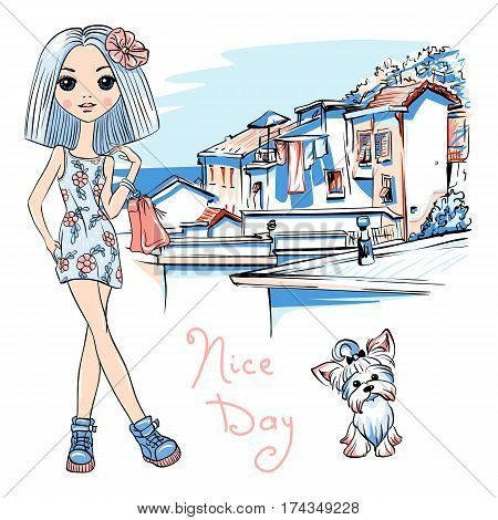 Cute beautiful fashion girl in dress with flowers and cute dog Yorkshire terrier, Manarola in Five lands, Cinque Terre National Park, Liguria, Italy.