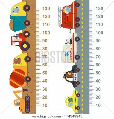 working and city transport height measure  - vector illustration, eps
