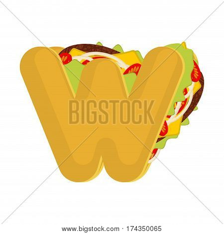 Letter W Tacos. Mexican Fast Food Font. Taco Alphabet Symbol. Mexico Meal Abc