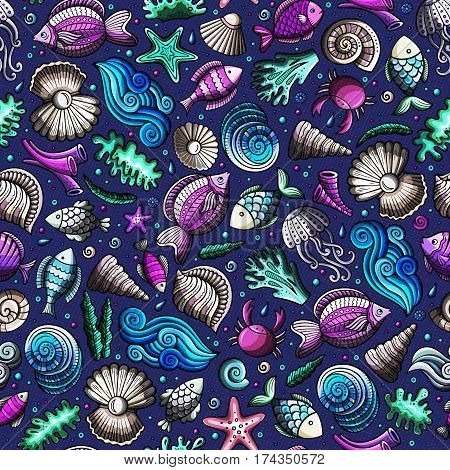 Cartoon cute hand drawn sea life seamless pattern. Colorful detailed, with lots of objects background. Endless funny vector illustration. Bright colors underwater backdrop.