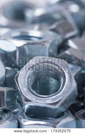 Close Up Macro Image Of Metal Nuts