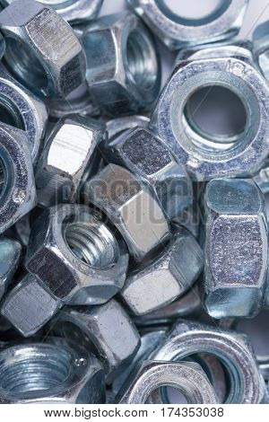 Flat Lay Image Of Metal Grey Nuts
