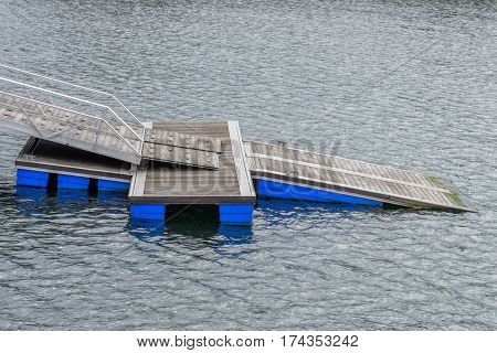 image of view on a wooden boat dock