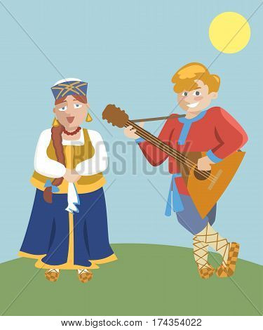 cartoon russian folk music duet with balalaika - funny vector illustration