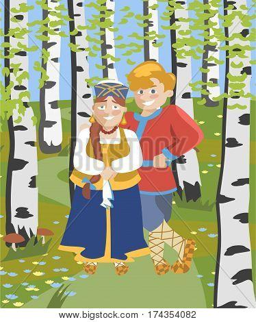cartoon russian couple in folk costumes at birch grove - funny cartoon illustration
