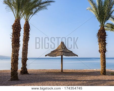 Sandy beach of Eilat - famous resort and recreation city in Israel. This serene location is a very popular tropical getaway for Israeli and European tourists.