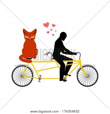 Cat Lover On Tandem. My Kitty. Lovers Of Cycling. Man Rolls Bicycle. Pet And Guy. Romantic Date